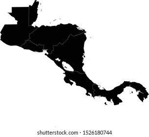 vector illustration of Black Central America map with countries