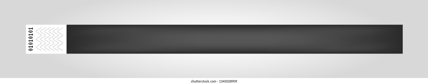 Vector illustration of black cheap empty bracelet or wristband. Sticky hand entrance event paper bracelet isolated. Template or mock up suitable for various uses of identification.
