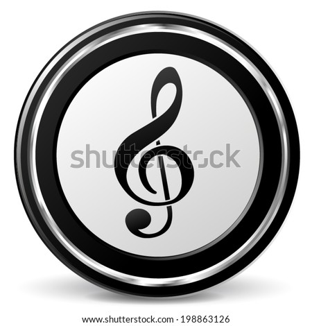 Vector Illustration Black Chrome Music Icon Stock Vector (Royalty