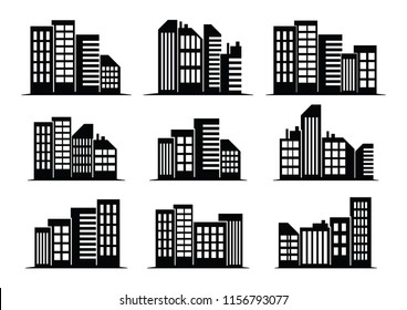 Vector Illustration : Black cities silhouette icon set