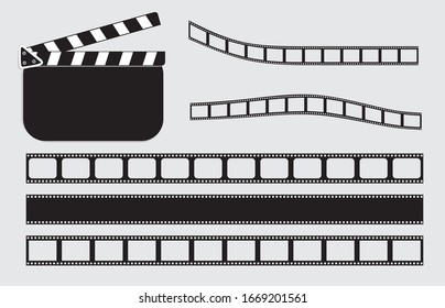 Vector illustration. Black clapper board and  film strips.