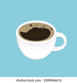 Vector Illustration, Black coffee in a cup