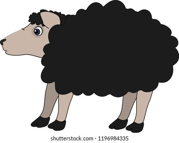 Vector illustration of black curly sheep in profile on white background. Isolated. Cartoon minimalism.