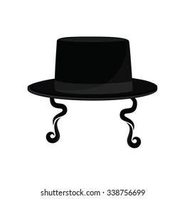Vector illustration black cylinder hat. Orthodox jewish hat with sideburns. Judaism symbols