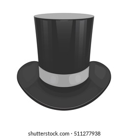 Vector illustration of a black cylinder hat on a white background