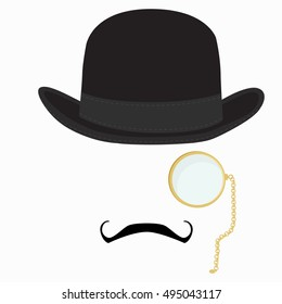Vector illustration of black derby hat, mustache and golden monocle with chain. Bowler hat. Black fashion gentleman hat. Gentleman concept