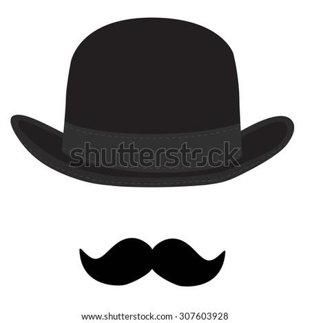 Vector illustration of black derby hat and mustache. Bowler hat. Black  fashion gentleman hat cb731f195cd