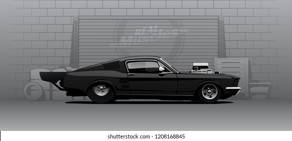Vector illustration. Black dragster in vector shown from the side.