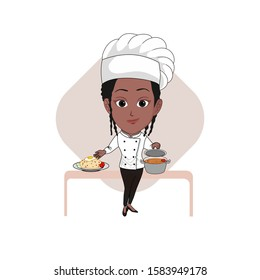 vector illustration of a black / ebony / African woman wearing a chef's uniform and carrying food in her hand. Isolated with white background.