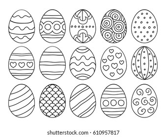 Vector illustration: black  egg icons with ornament for Easter holidays design isolated on white background.