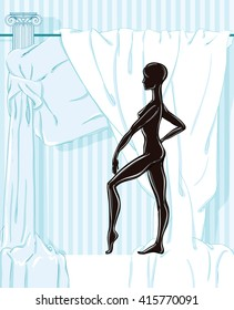Vector illustration of a black  female mannequin without any clothes on the background drape
