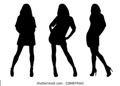 Vector illustration of black female silhouettes on white background. A set of three beautiful young women in different poses.
