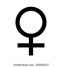 Vector illustration black female symbol. Gender sign woman.
