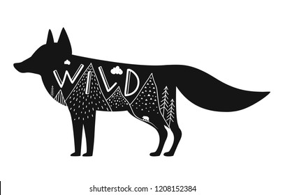 Vector illustration with black fox silhouette, lettering word Wild and nature mountains doodle landscape with clouds and pine trees. Circle, triangle and lines elements