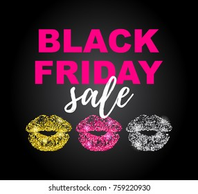 Vector illustration, Black Friday Sale poster with golden, pink and silver glitter lipstick trace