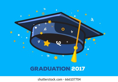 Vector illustration of a black graduate cap with confetti on blue background. Congratulation graduates 2017 class of graduations. Design of greeting, invitation card for the graduation party with hat