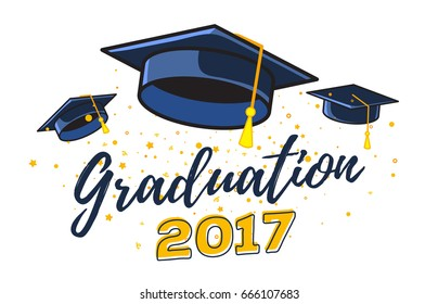 Vector illustration of black graduate caps with confetti on a white background. Congratulation graduates 2017 class of graduations. Caps are flying up. Design of greeting, banner, invitation card