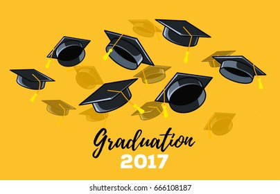 Vector illustration of black graduate caps on a yellow background. Caps thrown up. Congratulation graduates 2017 class of graduations. Design of greeting, invitation card for the graduation party