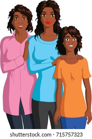Vector illustration of a black grandmother, mother and granddaughter.