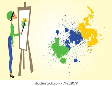 Vector  illustration with black and green girl on white background and yellow oval