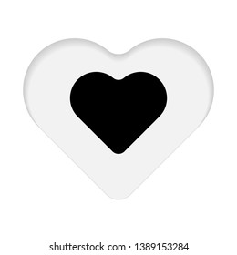 Vector Illustration, Black heart paper cut on white background