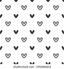 Vector Illustration. Black heart seamless pattern on white background