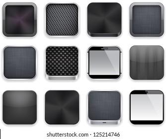 Vector illustration of black high-detailed apps icon set. Eps10.