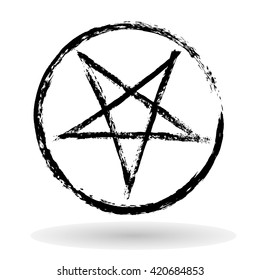 Vector illustration of black inverted pentagram in circle painted by dry brush. Isolated on white background. Hand drawn symbol. Soft shadow, Textured element. Black lines. Evil. Occultism.