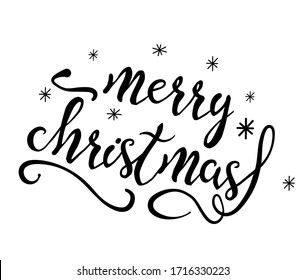 Vector illustration of black lettering merry christmas isolated on the white background. Inscription with flourishes and snowflakes. Hand drawn quote for print, cards, decoration, seasonal design.