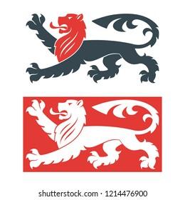 Vector illustration of black lions for heraldry or tattoo. Vintage design heraldic symbols and elements