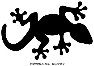 vector illustration of a black lizard silhouette