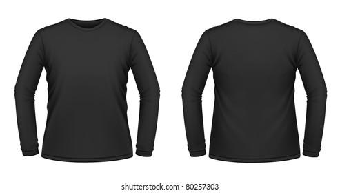 Vector illustration of black long-sleeved T-shirt