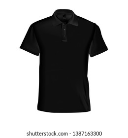 Vector illustration of a black male polo t-shirt on a white background. Fashionable men's clothing.