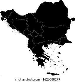 vector illustration of Black map of Balkan peninsula on white background