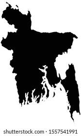 vector illustration of Black map of Bangladesh on white background