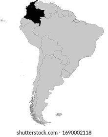 vector illustration of Black Map of Colombia