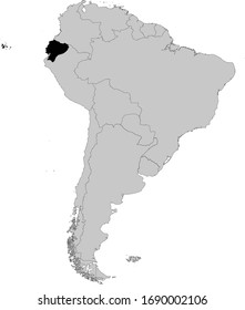 vector illustration of Black Map of Ecuador