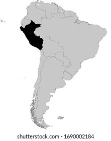 vector illustration of Black Map of Peru