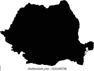 vector illustration of Black map of Romania