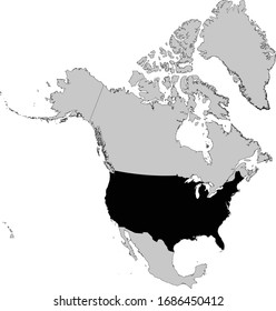 vector illustration of Black Map of USA
