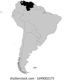 vector illustration of Black Map of Venezuela