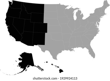 vector illustration of Black Map of Western region of US with federal state inside the map of United states of America