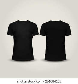 Vector illustration of black men T-shirt isolated on a light background