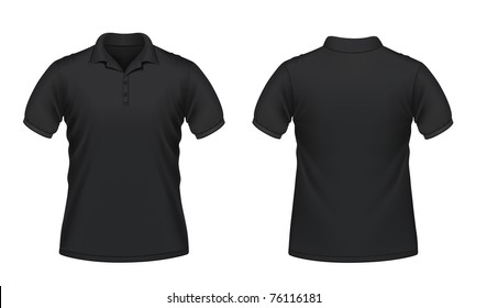 Vector illustration of black men's polo