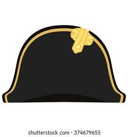 Vector illustration black Napoleon Bonaparte hat. General bicorne hat