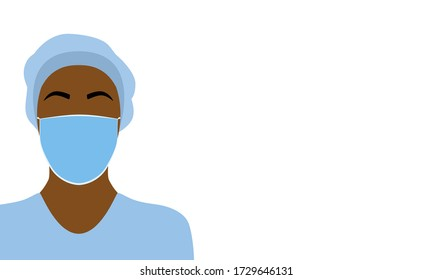 Vector illustration of a black nurse, doctor or healthcare worker wearing bouffant cap on hair and a surgical mask. Woman is wearing scrubs and isolated on a white background with copy space for text.