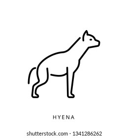 Vector illustration black outline african safari animal, mammal hyena isolated on white background. Linear minimalistic logo with an image of a hyena icon