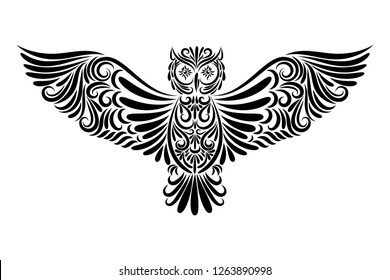 Vector illustration of a black owl from an ornament on a white background. Tattoo. Symbol. Flying bird. Flying owl. Eagle-owl. Night predator. Wise Owl. Symbol of wisdom. Night-bird. Night. Fly.
