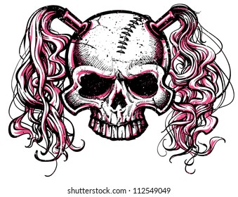 vector illustration of black and pink skull with pig tails and stitched forehead. Designed for use as a roller derby mascot.