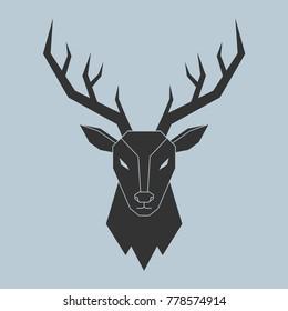 Vector illustration of black polygon deer's head on blue background